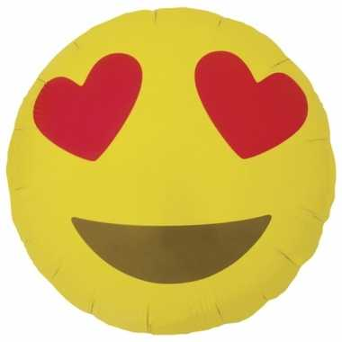 Gele emoticon gefeliciteerd ballon met hartjesogen 46 cm