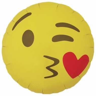 Gele emoticon gefeliciteerd ballon met kusje 46 cm