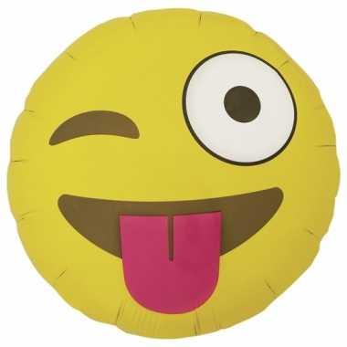 Gele emoticon gefeliciteerd ballon wink 46 cm