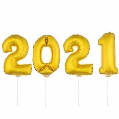 Gouden 2021 ballonnen voor oud en nieuw
