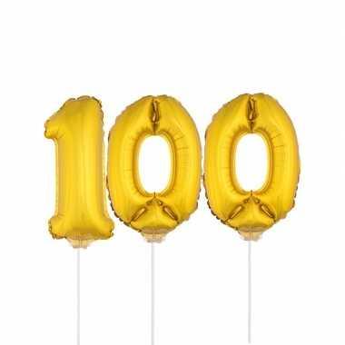 Gouden opblaas cijfer 100 op stokjes