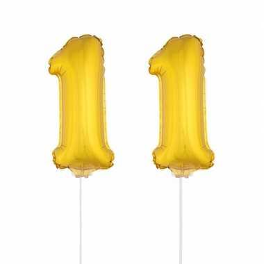 Gouden opblaas cijfer 11 op stokjes