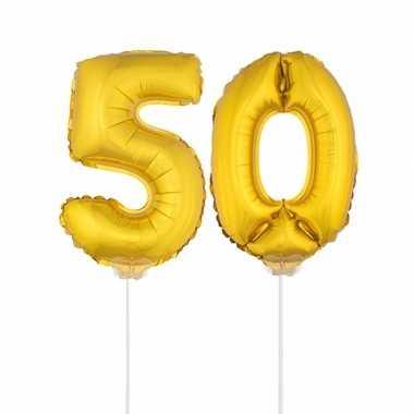 Gouden opblaas cijfer 50 op stokjes