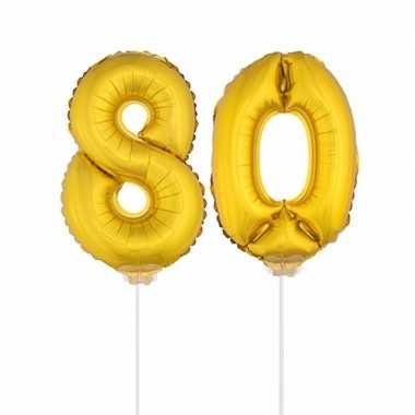 Gouden opblaas cijfer 80 op stokjes