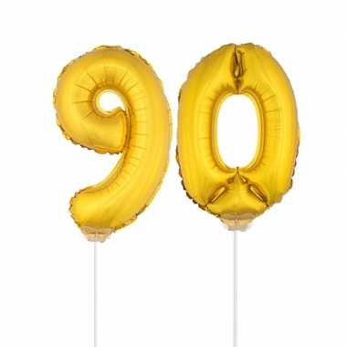 Gouden opblaas cijfer 90 op stokjes