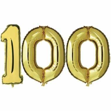 Gouden opblaasbare 100 gefeliciteerd ballonnen