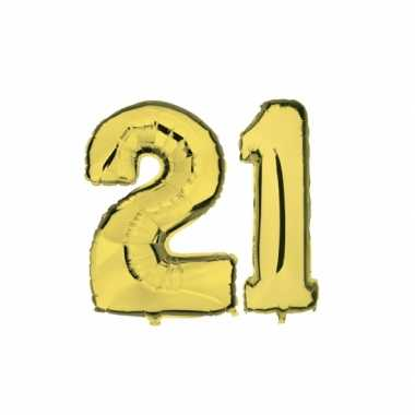 Gouden opblaasbare 21 gefeliciteerd ballonnen