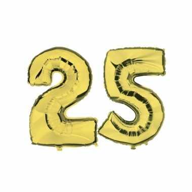 Gouden opblaasbare 25 gefeliciteerd ballonnen