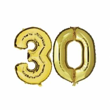 Gouden opblaasbare 30 gefeliciteerd ballonnen