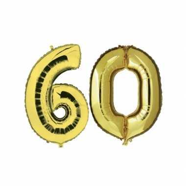 Gouden opblaasbare 60 gefeliciteerd ballonnen