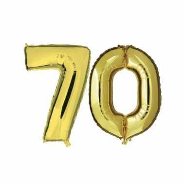 Gouden opblaasbare 70 gefeliciteerd ballonnen