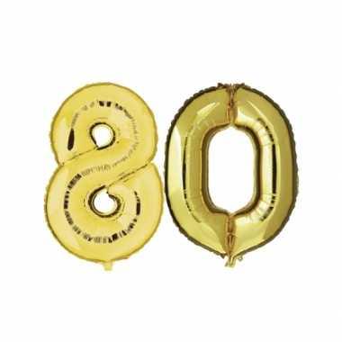 Gouden opblaasbare 80 gefeliciteerd ballonnen