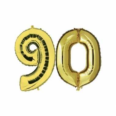 Gouden opblaasbare 90 gefeliciteerd ballonnen