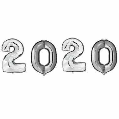 Grote zilveren 2020 ballonnen voor oud en nieuw
