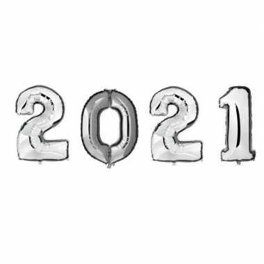 Grote zilveren 2021 ballonnen voor oud en nieuw