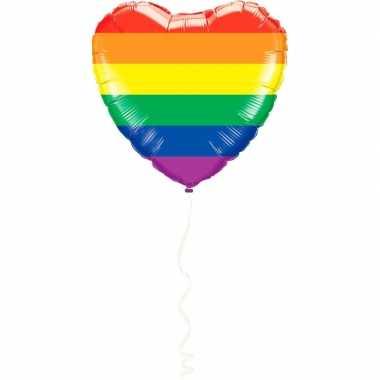Hart gefeliciteerd ballon regenboog kleuren 45 cm