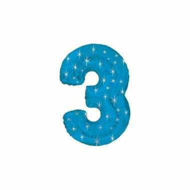 Nummer ballonnen 3 blauw