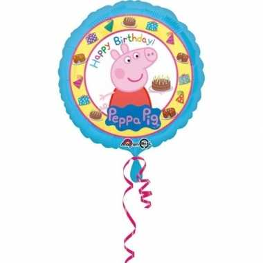 Peppa pig themafeest gefeliciteerd ballon 43 cm
