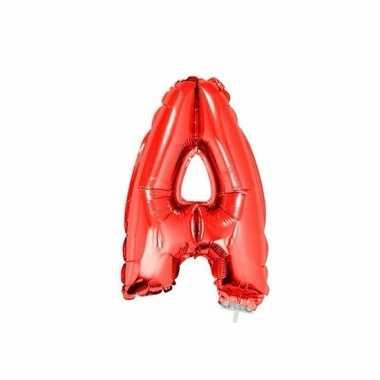 Rode letterballon a op stokje 41 cm