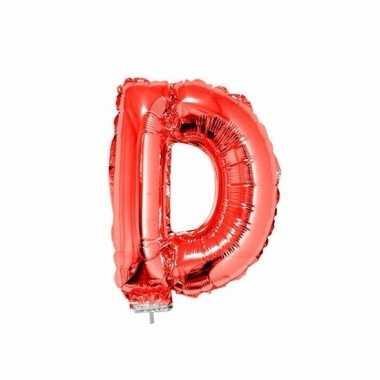 Rode letterballon d op stokje 41 cm