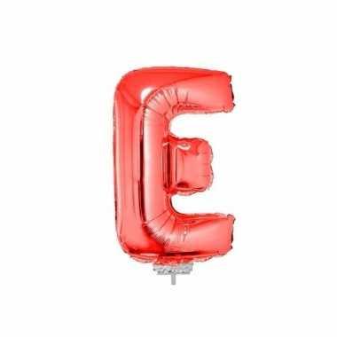 Rode letterballon e op stokje 41 cm
