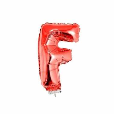 Rode letterballon f op stokje 41 cm