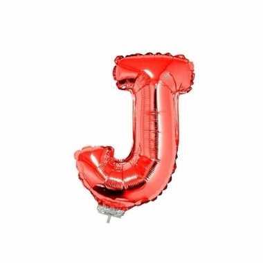 Rode letterballon j op stokje 41 cm