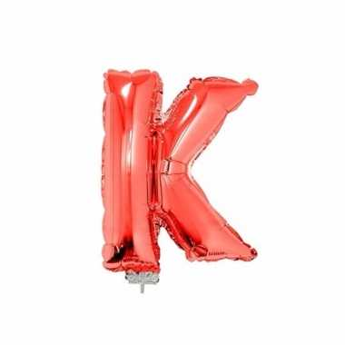 Rode letterballon k op stokje 41 cm