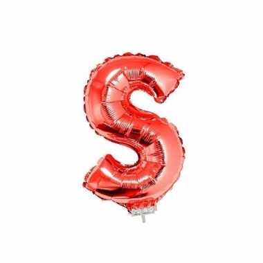 Rode letterballon s op stokje 41 cm