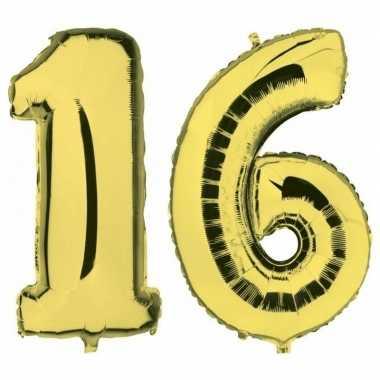 Sweet 16 gouden gefeliciteerd ballonnen 88 cm leeftijd/cijfer 16 jaar