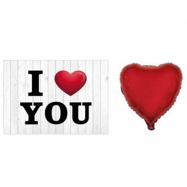 Valentijnskaart met gefeliciteerd ballon hart rood 52 cm