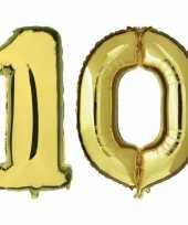 10 jaar gouden gefeliciteerd ballonnen 88 cm leeftijd cijfer