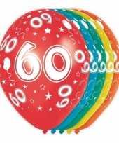 15x stuks 60 jaar thema versiering helium ballonnen 30 cm