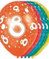 15x stuks 8 jaar thema versiering helium ballonnen 30 cm