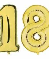 18 jaar gouden gefeliciteerd ballonnen 88 cm leeftijd cijfer