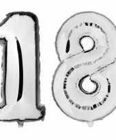 18 jaar zilveren gefeliciteerd ballonnen 88 cm leeftijd cijfer