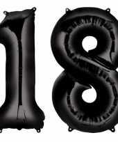 18 jaar zwarte gefeliciteerd ballonnen 88 cm leeftijd cijfer