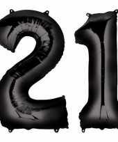 21 jaar zwarte gefeliciteerd ballonnen 88 cm leeftijd cijfer