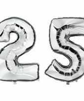 25 jaar zilveren gefeliciteerd ballonnen 88 cm leeftijd cijfer