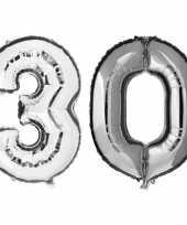 30 jaar zilveren gefeliciteerd ballonnen 88 cm leeftijd cijfer