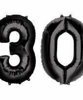 30 jaar zwarte gefeliciteerd ballonnen 88 cm leeftijd cijfer