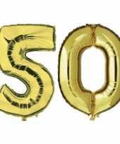 50 jaar gouden gefeliciteerd ballonnen 88 cm leeftijd cijfer