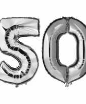 50 jaar zilveren gefeliciteerd ballonnen 88 cm leeftijd cijfer