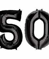 50 jaar zwarte gefeliciteerd ballonnen 88 cm leeftijd cijfer