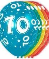 5x stuks 70 jaar thema versiering heliumballonnen 30 cm