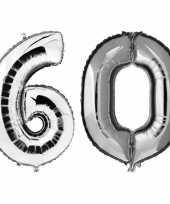 60 jaar zilveren gefeliciteerd ballonnen 88 cm leeftijd cijfer