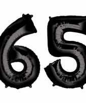 65 jaar zwarte gefeliciteerd ballonnen 88 cm leeftijd cijfer