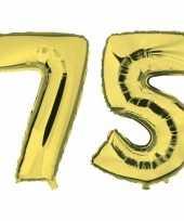 75 jaar gouden gefeliciteerd ballonnen 88 cm leeftijd cijfer