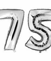 75 jaar zilveren gefeliciteerd ballonnen 88 cm leeftijd cijfer
