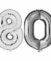 80 jaar zilveren gefeliciteerd ballonnen 88 cm leeftijd cijfer